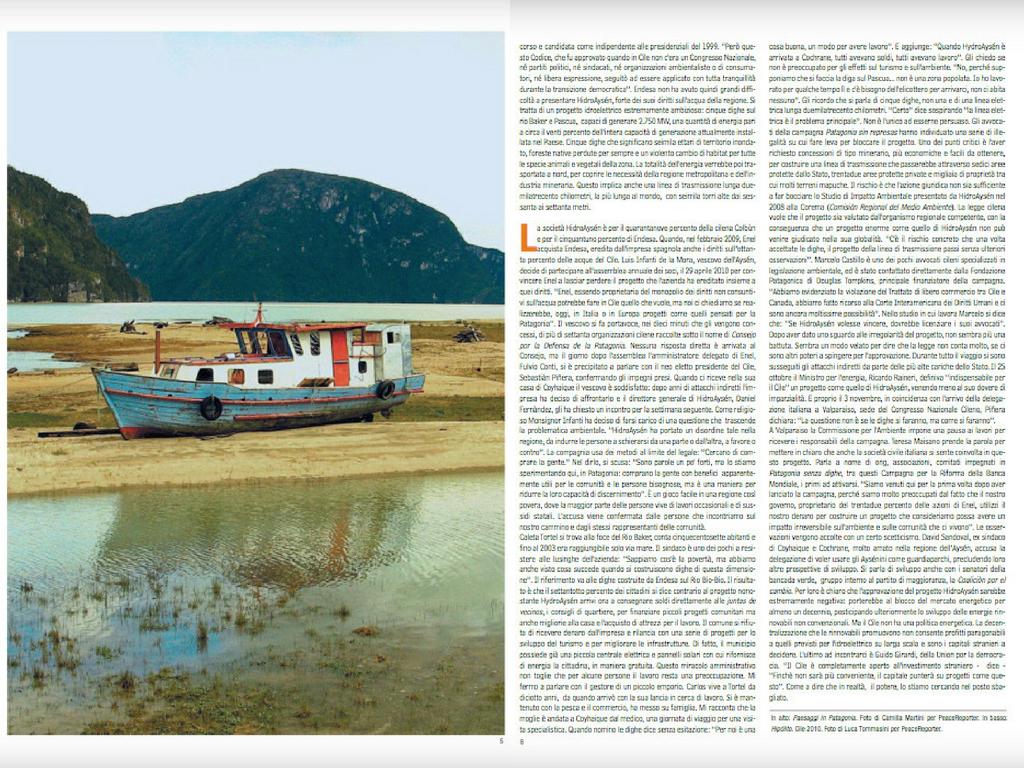 Acqua di Patagonia Camilla Martini per Peacereporter Dicembre 2010 #2 Tearsheets
