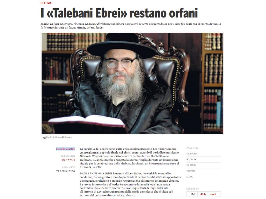 I «Talebani Ebrei» restano orfani - Testo di Camilla Martini per Il Manifesto 20.07.2017