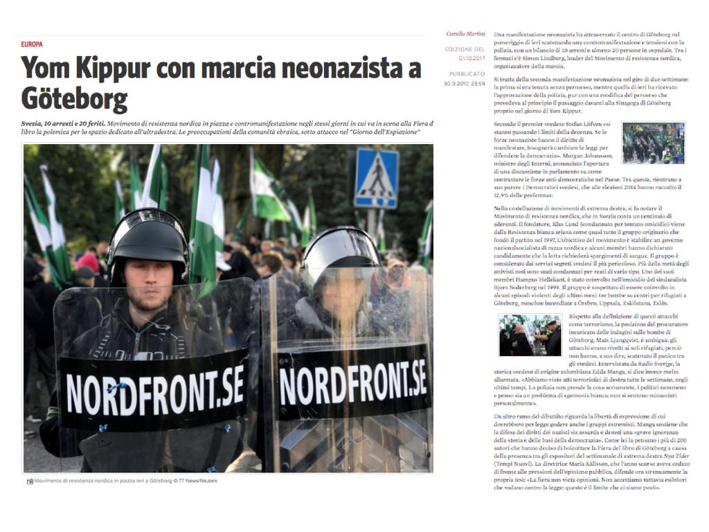 Yom Kippur con marcia neonazista a Göteborg Testo di Camilla Martini per Il Manifesto 01.10.2017