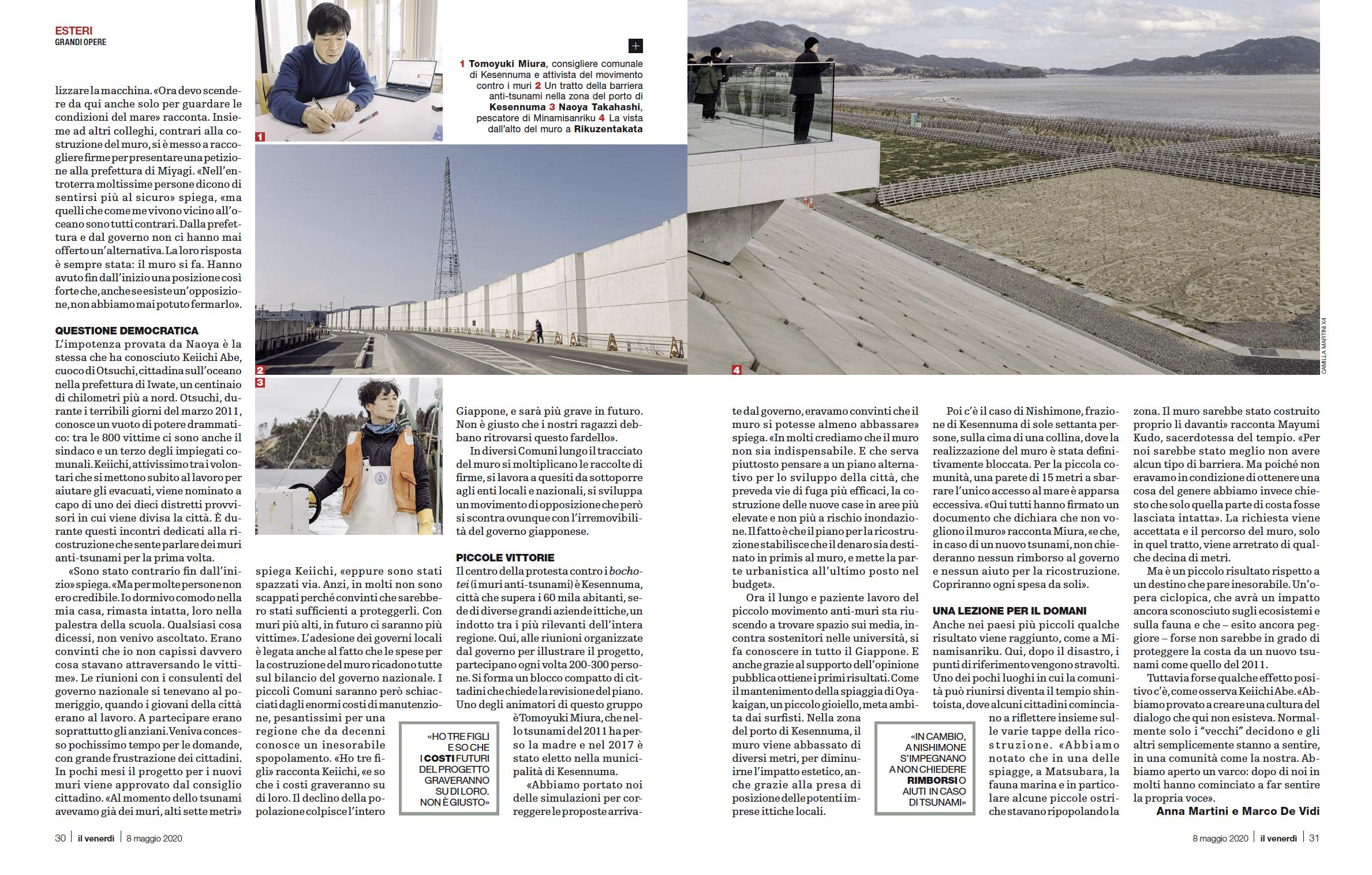 Tearsheets _ Il Venerdì di Repubblica _ Un'onda contro il muro _ Fotografie di Camilla Martini